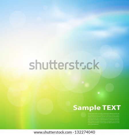 Green, sunny natural  background, vector illustration. - stock vector