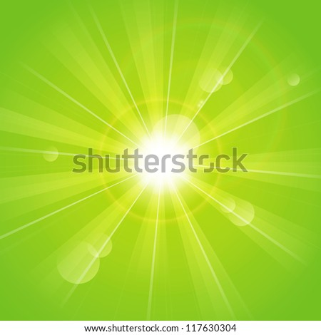 Green sunny rays background - stock vector