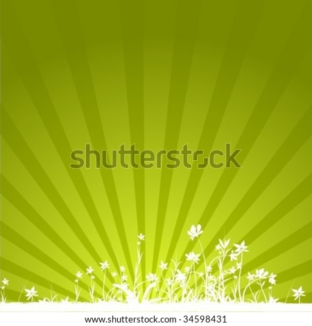 Green sunrise shine with flowers in striped background.