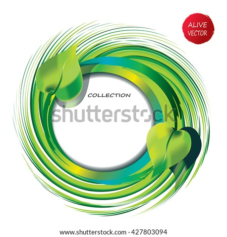 Green Swirly frame - vector abstract grass and leaves move in circle. Green circle summer frame. Abstract summer frame as green whirlpool. Recycling icon frame - text place. - stock vector