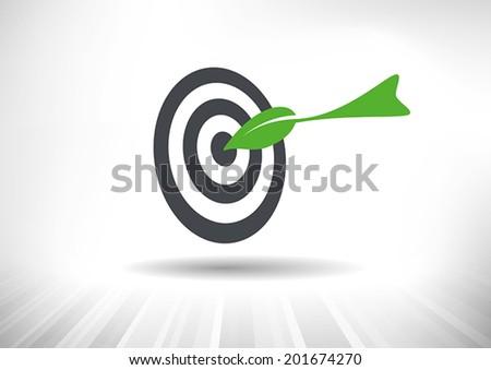 Green Target. Green leaf dart hitting center of target. Vector illustration - stock vector