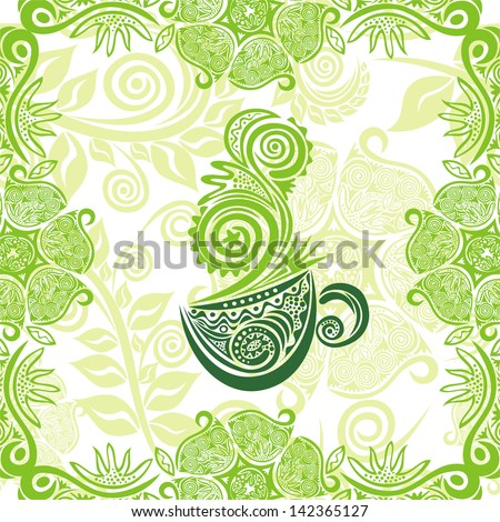 Green tea floral pattern background vector illustration
