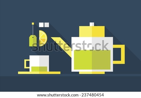 Green tea. Kettle and cup. Flat design. Vector illustration.  - stock vector