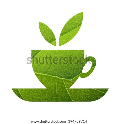 Green Tea. Leaf Veins Texture Shaped. Isolated template - stock vector