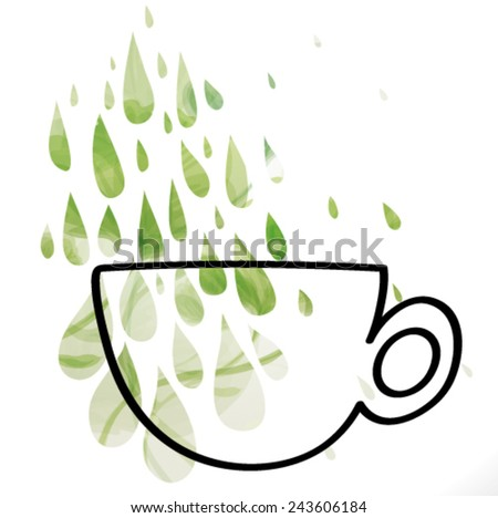 Green Tea / Silhouette of cup with floral tea drops   - stock vector