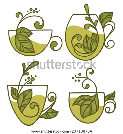 green tea, vector collection of forms, symbols and images - stock vector