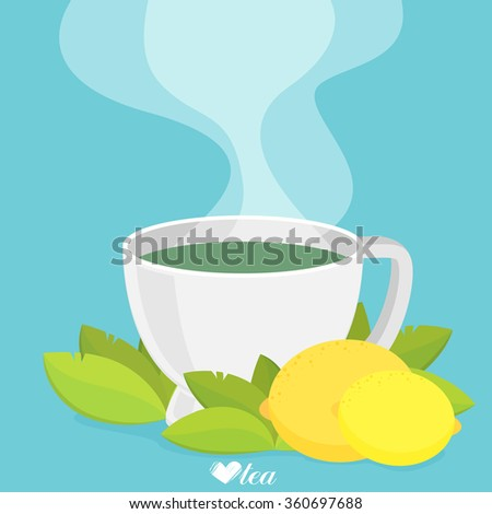 Green tea with lemon. Flat vector - stock vector