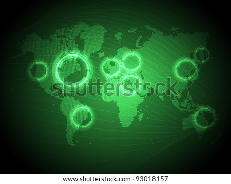 Green Technology Map of the World - EPS10 Vector Design - stock vector