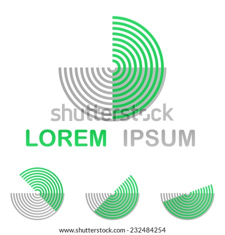 Green technology symbol icon design set from half circles - stock vector