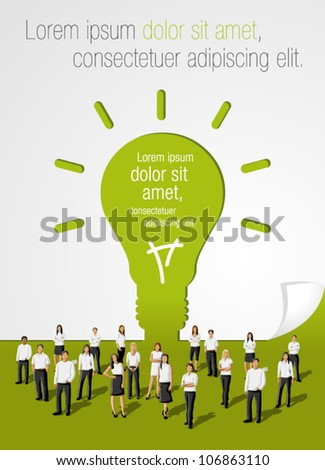 Green template in shape of light bulb idea with business people - stock vector