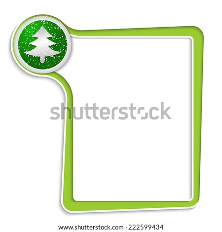 green text box for any text with xmas tree symbol - stock vector