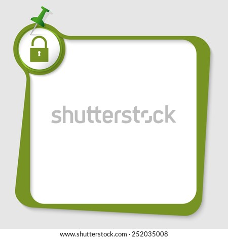 green text box with pushpin and padlock - stock vector