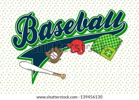 green theme baseball league art text - stock vector