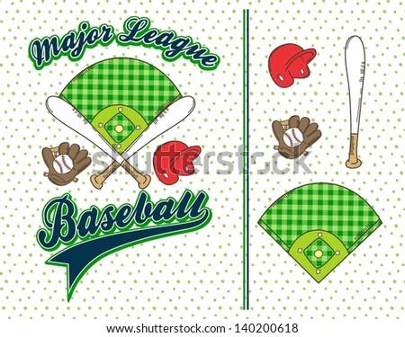 green theme baseball league icon set - stock vector