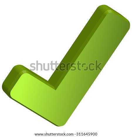 green three dimensional check mark isolated on white background - stock vector