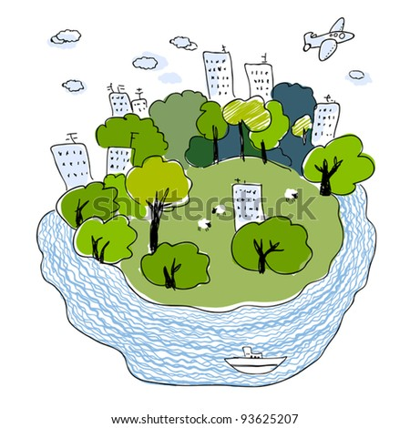 Green town illustration - sustainable development concept.