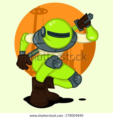 Green Toxic Robot - stock vector