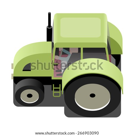 Green tractor, agricultural machinery, vector cartoon illustration - stock vector