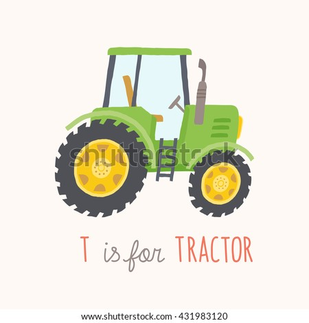 Green tractor with trailer. Vector eps 10 illustration isolated on white background. - stock vector