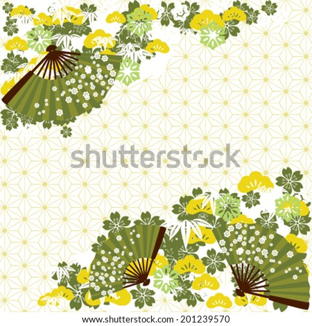Green traditional Japanese background - stock vector