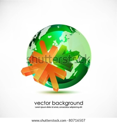green translucent globe with arrows vector - stock vector