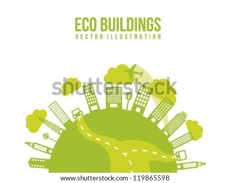 green transport and city, eco buildings. vector illustration