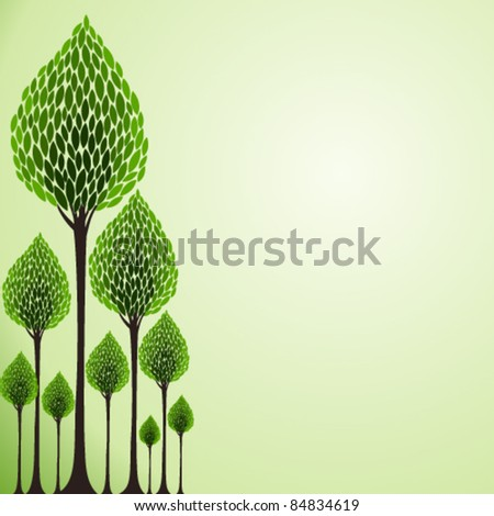 green tree background  with space for your text - stock vector
