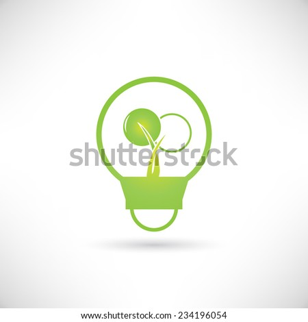 green tree growing in a bulb, go green concept - stock vector