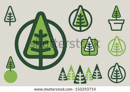 Green tree icon - stock vector