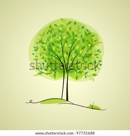 green tree in the background with place for text - stock vector