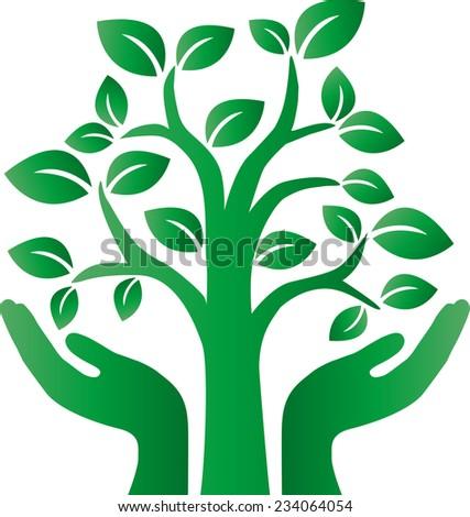green tree logotype environ milieu - stock vector