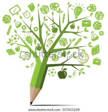 Green tree pencil with back to school concept. - stock vector