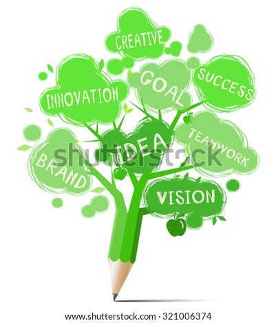 Green tree pencil with text education & business concept - stock vector