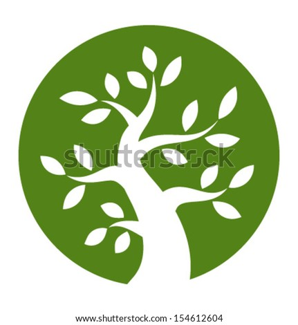 Green tree round icon, vector illustration  - stock vector