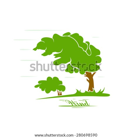 Green tree silhouette blowing in the wind, illustration. - stock vector