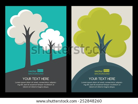 Green tree silhouette illustration. Set of vector nature organic background with place for text. Nature organic, eco, green earth concept.