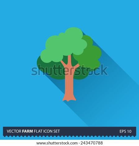 Green Tree vector flat long shadow icon on blue background. Farm icons collection - stock vector