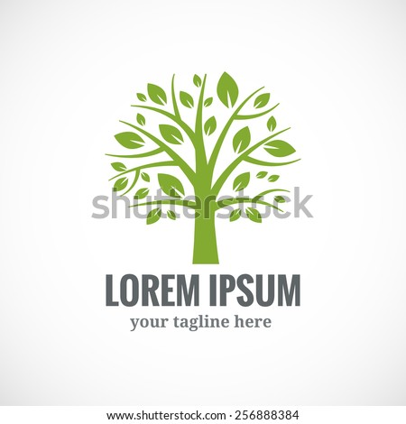 Green tree vector logo design template. Plant, nature and ecology  - stock vector
