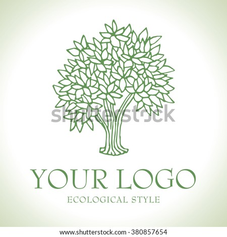 Green tree vector logo, sketch style - stock vector