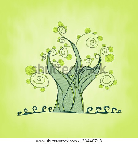 Green tree with branches and leaves, fresh grass, spring theme, vector illustration