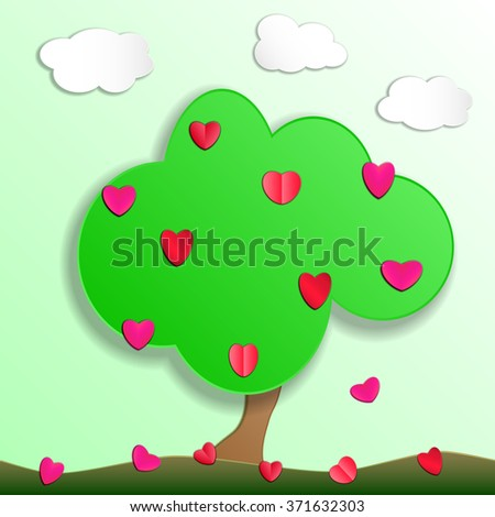 Green tree with fruit of love hearts. Paper cut style. Vector illustration. EPS10