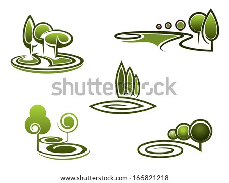 Green trees elements for landscape design and ornate - stock vector