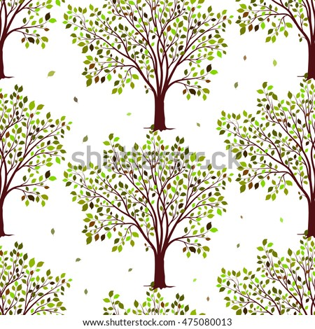 Green trees seamless pattern vector background