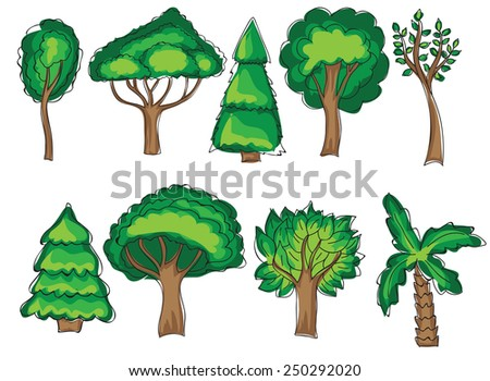 Green trees set in doodle style - vector illustration - stock vector