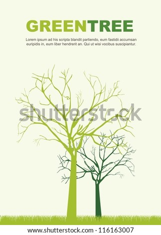 green trees silhouettes over green background. vector illustration