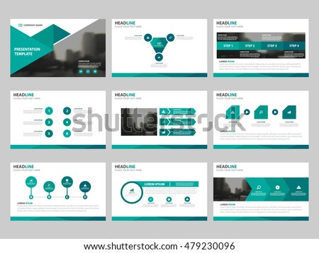 green triangle presentation templates infographic elements stock
