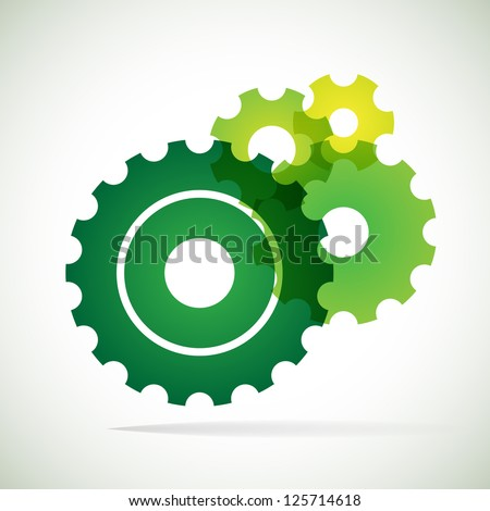 green trnsparent cogs (gears) on white background - stock vector