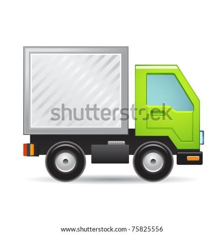 Green truck - stock vector