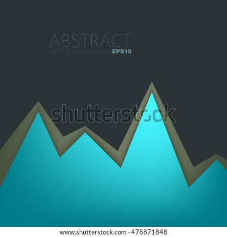 Green turquoise background serrated paper layer with line on black dark space for text and message design