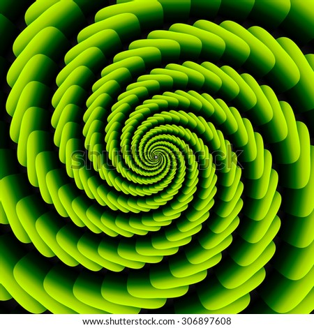 Green twisted and ribbed spiral object with background - stock vector